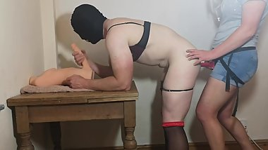 Sissy husband pegged in chastity