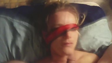 Lena gets tied, blindfolded and facefucked