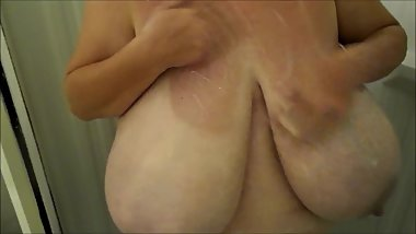 huge boob shower