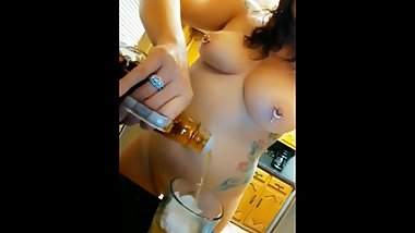 CoyWilder - Pouring a drink in the best way. Naked with a smile