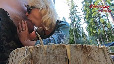 Blonde fucks in ass and sucks in the forest / Amateur CherryAleksa