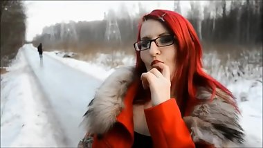 Red Hair Fur Hood Blowjob Outdoor