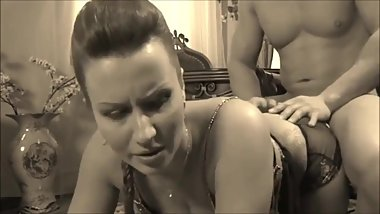 Big Ass MILF get Painfull Moaning Anal in Lingerie