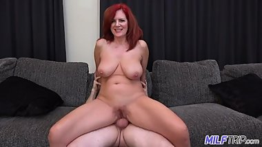 Milf, Cowgirl, Hardcore, Busty, Doggy-style, Hairy, Cream-pie MF