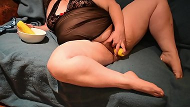 Cornhub! Crazy Cute Chubby MILF Fucks Pussy with Corn Cob and Eats It