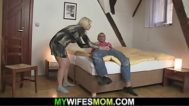 Blonde mother-in-law sucks and rides his cock