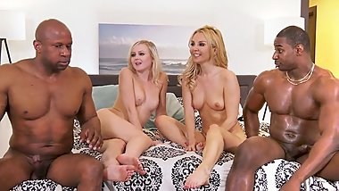 Aaliyah Love & Natalia Queen Interracial Foursome Sex