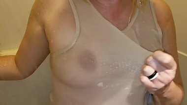 Wet t-shirt in the shower