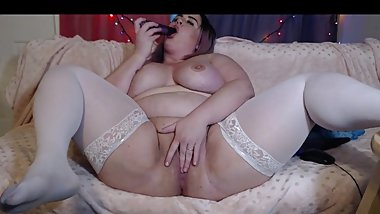 Bbw slut fucking her fat wet pussy with a big cock