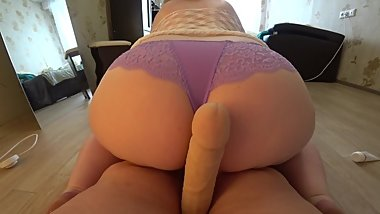 Mature lesbian jumps on a girlfriend, shakes a fat butt and big tits. POV.
