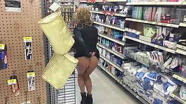 HIGH SOCIETY STUNNING HIGH HEELED MILF NO PANTIES IN WALMART